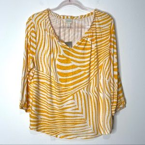Chico's Desert Zebra Pearl Pesant Top NWT Size L